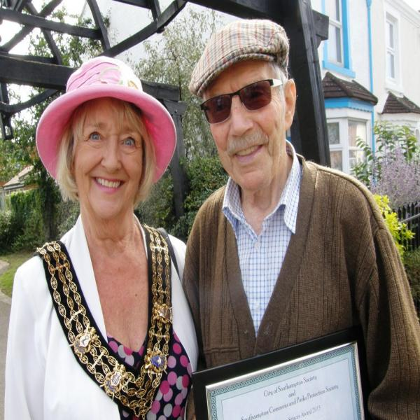 The Mayor of Southampton Councillor Linda Norris with Victor Newberry who accepted the Award