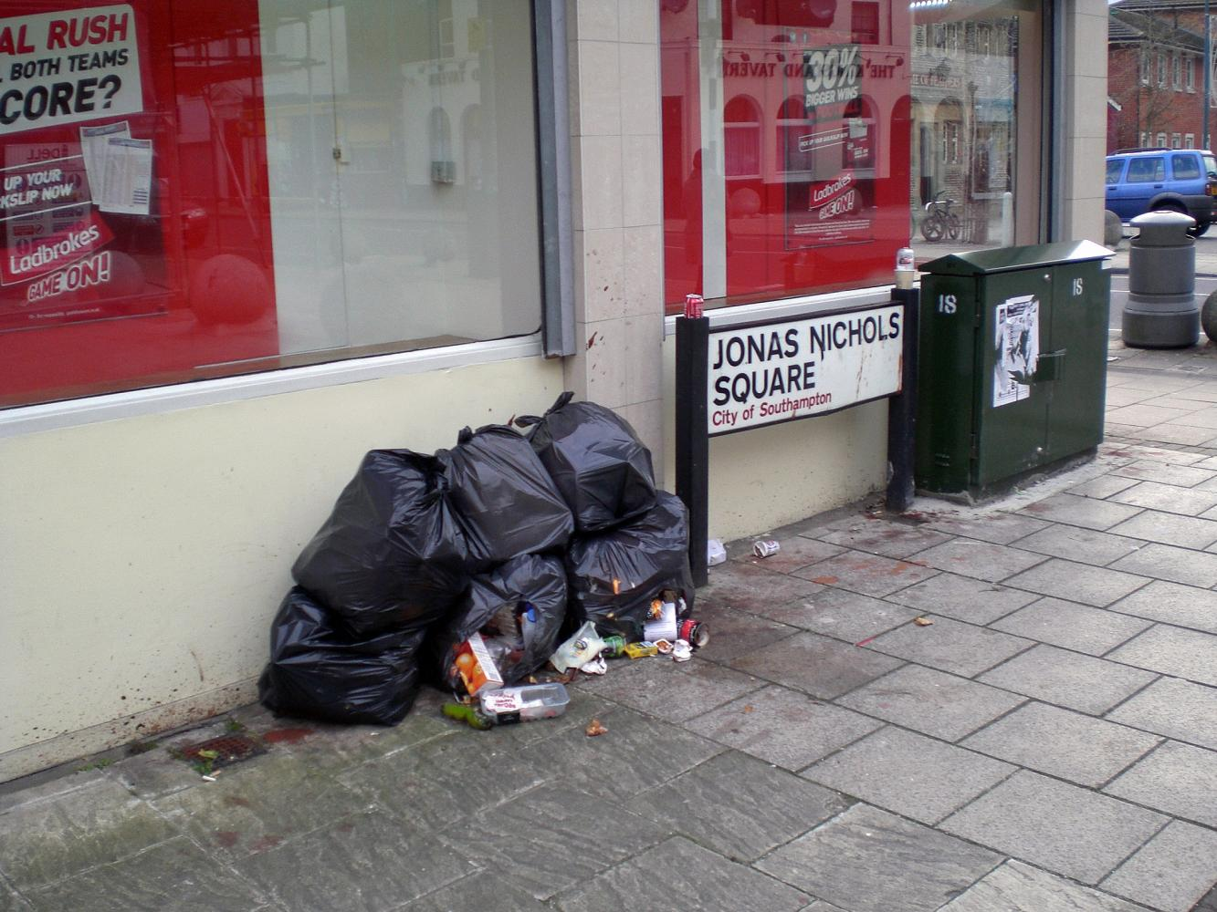 Fly tipping in Jonas Nichols Square 22nd February 2013 Image Will Temple
