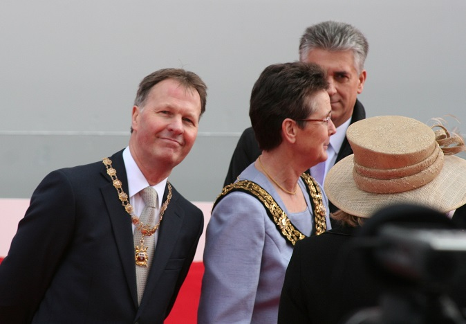 Mayor's Escort Gregory Thorne and the Mayor and Admiral of the Port Councillor Sue Blatchford at the naming ceremony of P&O Cruises new flagship Britannia at Southampton 10th March 2015 Image copyright Ann MacGillivray 2015
