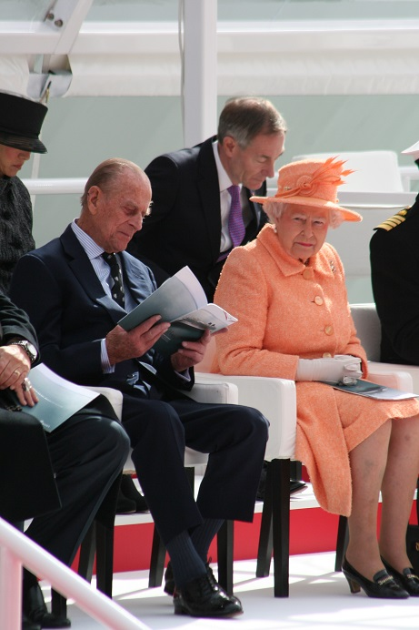 HRH The Duke of Edinburgh and HM The Queen at the naming ceremony of Britannia the new flag ship of P&O Cruises Image copyright Ann MacGillivray 2015