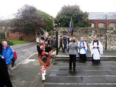 The congrgation left St Michael's Church for nearby Town Quay Park for the unveilling ceremony. Image Arthur Jeffery
