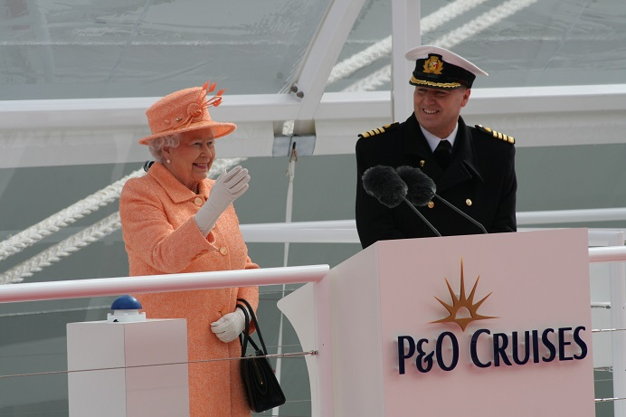 The Royal Wave - HM The Queen at the naming ceremony of P&O Cruises flagship Britannia at Southampton 10th March 2015 Image copyright Ann MacGillivray 2015