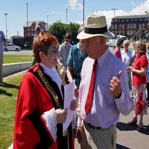 Mike Vokes MBE with the Mayor of Southampton Councillor Cathie Mc Ewing at the completion of the re modelling of Platform Road and the Vokes Memorial Gardens